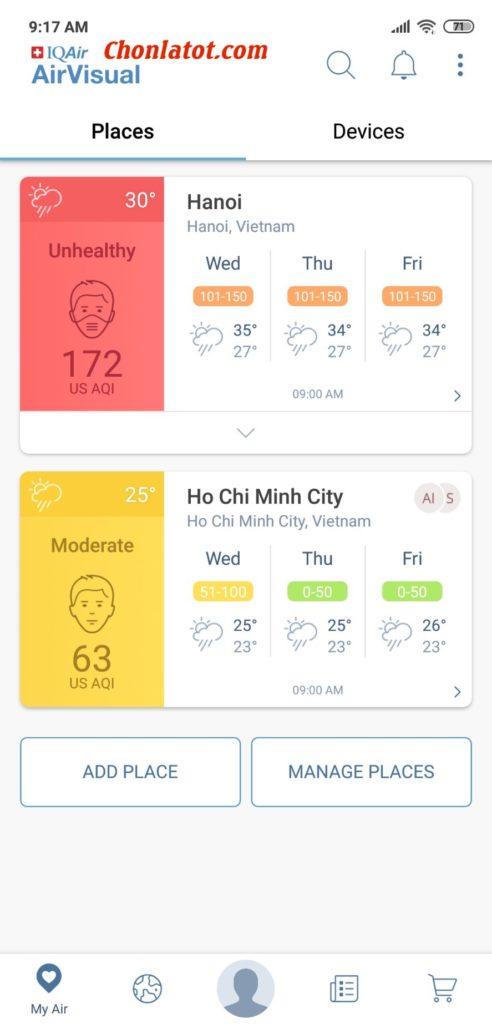 Đo ô nhiễm không khí Hà Nội - AirVisual