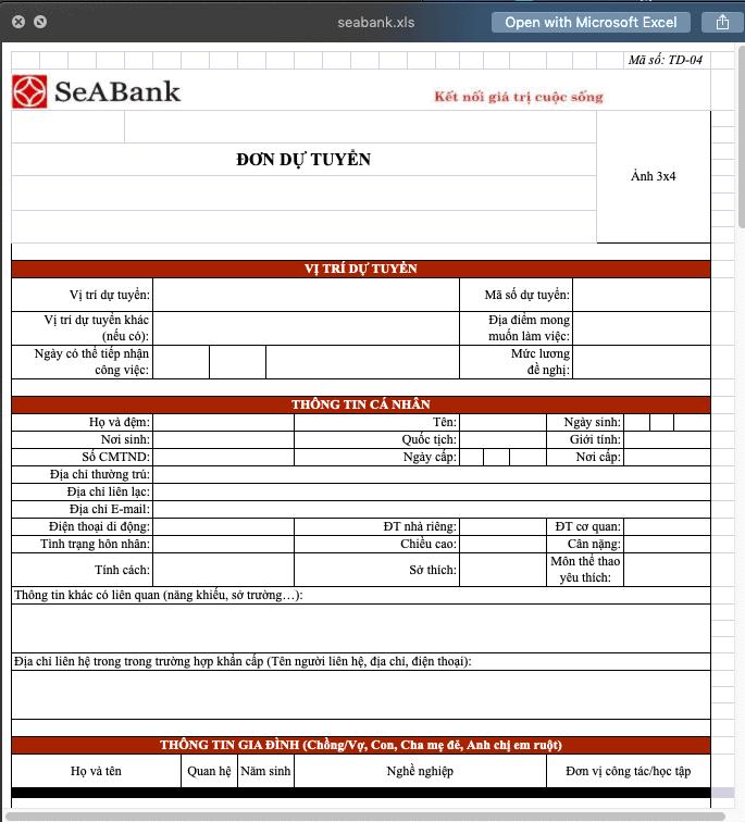 CV ứng tuyển ngân hàng Seabank