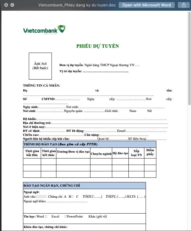 CV ứng tuyển ngân hàng Vietcombank